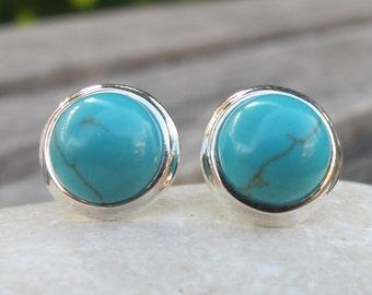 Round Turquoise Boho Earring- Blue Turquoise Bohemian Earring- Something Blue Earring- Classic Blue Stud- December Birthstone Earring