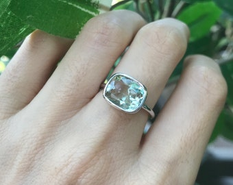 Genuine Green Amethyst Ring Rectangle Sterling Silver Minimalist Boho Green Solitaire Ring February Birthstone Silver Ring- East West Ring
