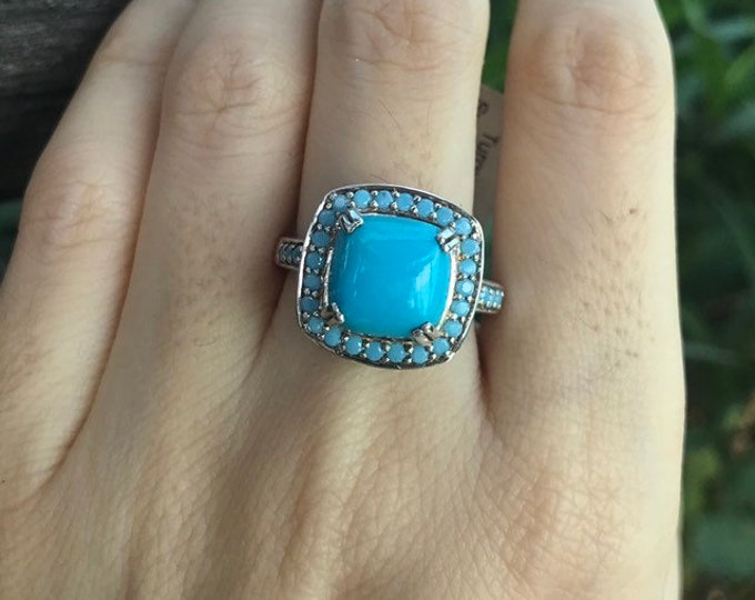Square Turquoise Engagement Ring- Blue Turquoise Genuine Halo Promise Ring- OOAK December Birthstone Ring- Sleeping Beauty Anniversary Ring