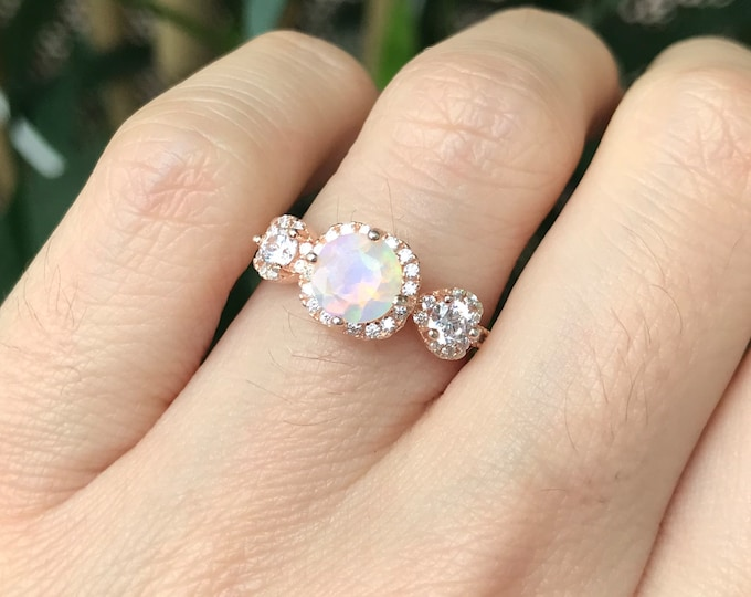 Opal Vintage Engagement Ring- Opal Halo Bridal Ring Set- Three Stone Anniversary Ring- Genuine Opal Promise Ring for Her- Art Deco Opal Ring