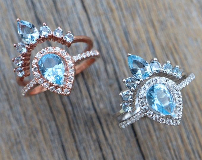 Teardrop Blue Topaz Bridal Ring Set- Pear Blue Stone Wedding 2 Ring Set- Light Blue Halo Bridal Ring w/ Wedding Band- Sterling Silver Rings