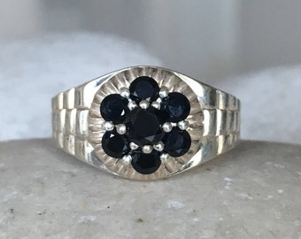 Mens Wedding Gemstone Band- Rolex Style Wedding Band- Unisex Black Stone Band- Mens Band Statement Ring- Deco Engagement Ring