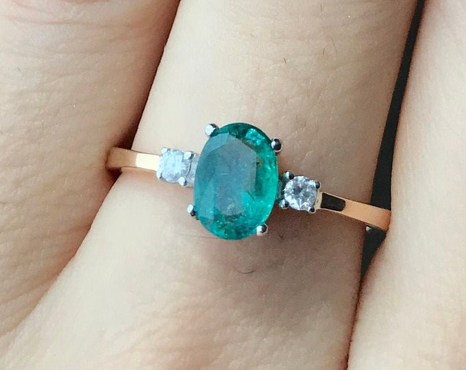 Oval Emerald Three Stone Engagement Ring- Genuine Emerald Promise Ring for Her- Two Tone Gold Emerald Diamond Ring- Green Anniversary Ring
