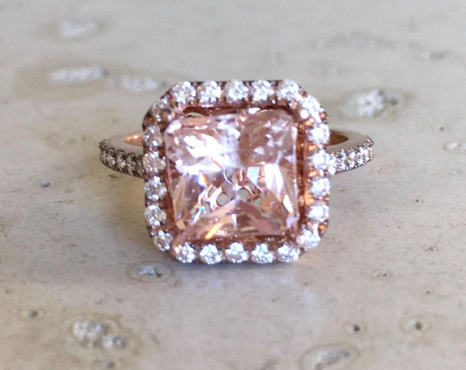 Morganite Cushion Rose Gold Ring- Square Morganite Engagement Ring- Halo Morganite Promise Ring- Solitaire Large Morganite 3ct Diamond Ring