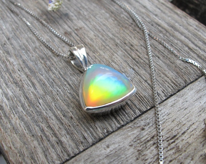 Triangle Rainbow Genuine Opal Necklace- Natural Cabochon Opal Minimalist Necklace- Opal Bezel Silver Necklace- October Birthstone Necklace