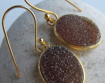 Oval Brown Druzy Dangle Earring- Simple Gold Drop Earring- Raw Stone Jewelry- Rough Stone Brown Earring- Boho Bohemian Earring