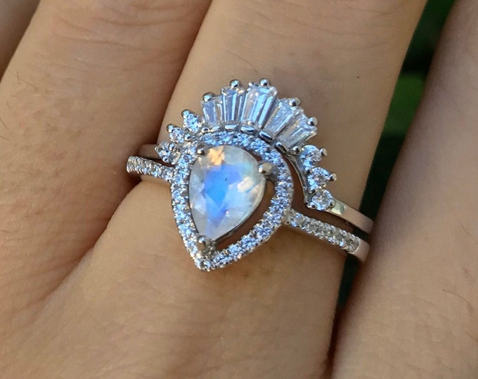Moonstone Vintage Halo Pear Engagement Ring Set-Moonstone Teardrop Deco Bridal Ring Set- Baguette Moonstone Wedding Two Piece Ring with Band