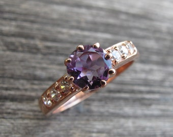Amethyst Engagement Ring Rose Gold Purple Gemstone Engagement Ring February Birthstone Ring