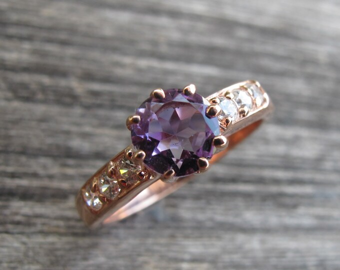 Amethyst Engagement Ring Rose Gold Purple Gemstone Engagement Ring February Birthstone Ring