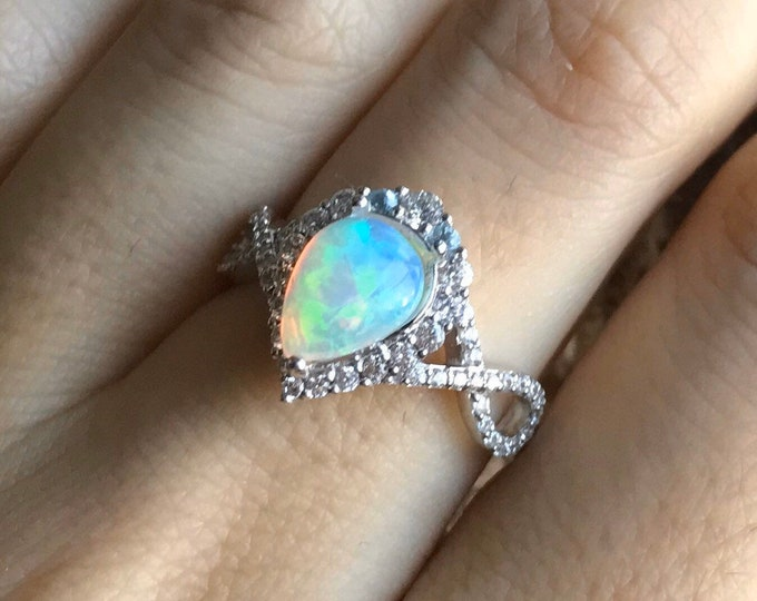 Genuine Opal Infinity Engagement Ring- Natural Opal Promise Split Shank Ring- Welo Opal Pear Halo Anniversary Ring- 14k 18k Gold Opal Ring