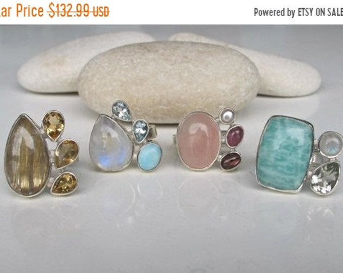 40% OFF SALE Golden Rutile Quartz Ring- Citrine Ring- Blue Topaz Ring- Moonstone Ring- Green Amethyst Ring- Rose Quartz Ring- Tourmaline Rin