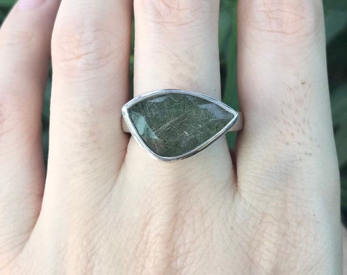 Green Rutile Statement Ring- Unique Eye Shape Ring- UniSex Mens Ring- One of A Kind Ring- Sterling Silver Ring- Green Gemstone Ring