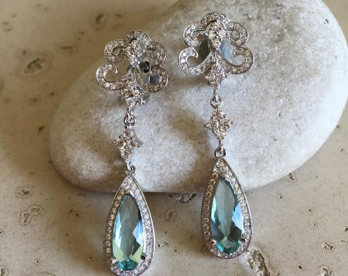 Art Deco Aqua Quartz Earring- Bridal Wedding Dangle and Drop Earring- Chandelier Earring- Halo Gemstone Statement Earring