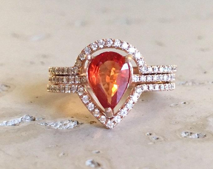 Genuine Orange Sapphire Engagement Ring Set- Rose Gold Pear 1 carat Bridal Ring Set- Orange Alternative Rose Gold 3 Ring Set with Diamonds