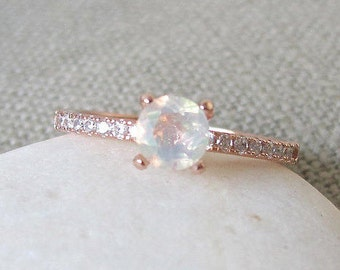 4 Prong Opal Promise Ring- Rose Gold Opal Ring- Genuine Opal Round Promise Ring- Welo Opal Solitaire Ring- Boho Rainbow Ring- October Ring
