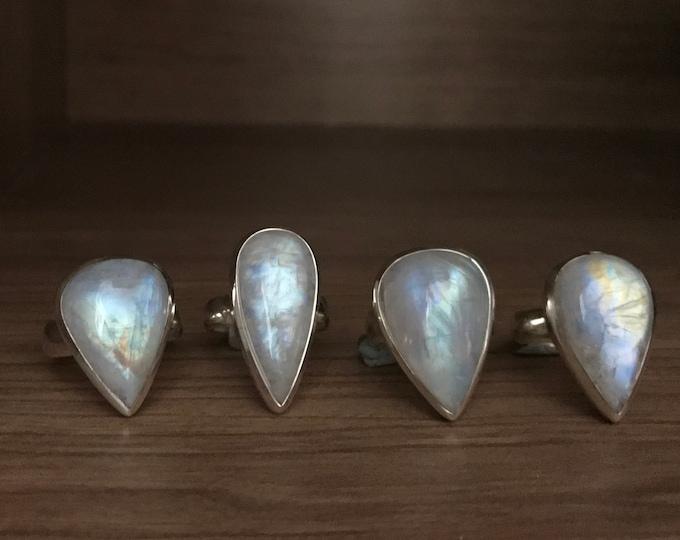 TearDrop Large Rainbow Moonstone Ring- Moonstone Pear Cab Statement Ring- Bohemian Festive Coachella Ring-Boho Rainbow Sterling Silver Ring