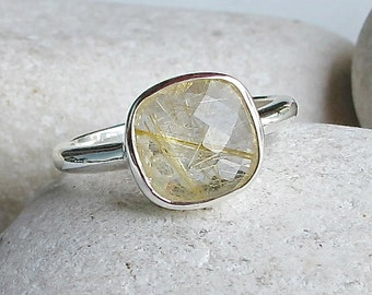 Gold Quartz Stacking Ring- Square Gold Rutile Ring- Simple Gemstone Ring- Sterling Silver Ring- Rutilated Quartz Ring