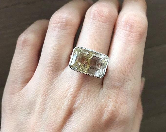 Rectangle Rutile Quartz Ring- Statement Rutilated Quartz Ring- Gold Rutile Quartz Ring- Hair of Venus Ring- Sterling Silver Gemstone Ring