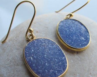 Blue Druzy Oval Earring- Blue Dangle Gold Earring- Raw Stone Earring- Simple Drop Earring- Rough Stone Earring- Raw Crystal Earring