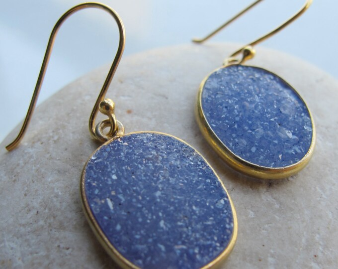 Blue Druzy Oval Dangle Earring- Blue Gold Drop Earring- Real Druzy Earring- Raw Blue Gemstone Earring- Rough Stone Earring- Crystal Earring