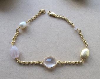 Pearl Bracelets- Gemstone Bracelets- Pink Quartz Bracelets- Quartz Bracelets- Stone Bracelets- Bridesmaids Bracelets- Pink Wedding- Bracelet