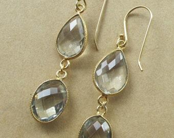 Dangle Green Amethyst Earring- Long Dangle Earring- February Birthstone Earring- Double Drop Green Earring- Two Stone Earring- Gifts for Her