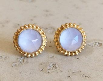 White Moonstone Boho Earring- Faceted White Bohemian Earring- Gold Stud Earring- June Birthstone Earring- Round Milgrain Bezel Earring