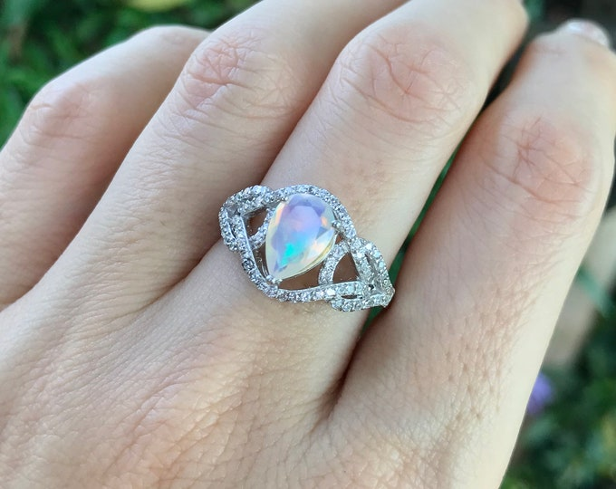 Pear Opal Engagement Ring- Opal Statement Swirl Ring- Halo Opal Promise Ring- Art Deco Opal Ring- October Birthstone Ring- Genuine Opal Ring