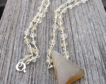 Druzy Necklace Natural Rough Raw Stone Triangle Bead Boho