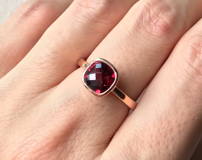 Rose Gold Natural Garnet Engagement Ring- Cushion Genuine Garnet Promise Ring- Red Stone Ring- Simple Anniversary Ring- Red Bezel Ring