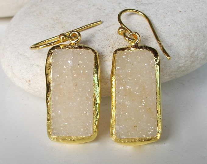 Real Druzy Long Earring- Raw Rectangle Gold Earring- Statement Dangle Earring- Raw Crystal Drop Earring- Bridal Rough Stone Earring
