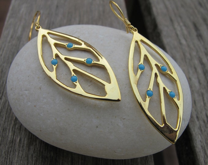 Boho Leaf Turquoise Earring- Bohemian Statement Dangle Earring- Gold Long Drop Earring- December Birthstone Earring- Unique Artisan Earring