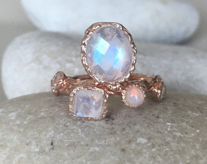 Rose Gold Moonstone Ring with Opal- Tree Branch Statement Ring- MultiStone June October Birthstone Ring- Unique Moonstone Engagement Ring