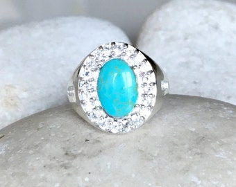 Genuine Oval Turquoise Statement Ring- Unisex Sterling Silver Ring- Mens Solitaire Ring- December Birthstone Ring- Turquoise Halo Ring