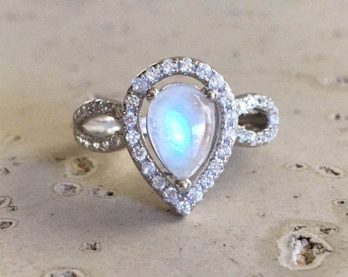 Pear Moonstone Engagement Ring- Halo Moonstone Promise Ring- Double Band Anniversary Ring-Deco Moonstone Solitaire Ring-June Birthstone Ring