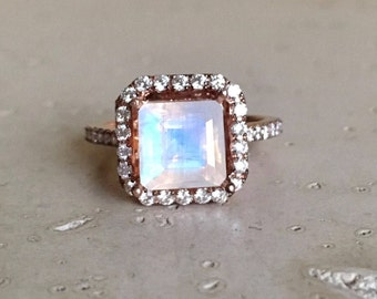 Halo Moonstone Engagement Ring- Princess Moonstone Halo Promise Ring- Rose Gold Moonstone Ring- Moonstone Diamond Solitaire Large Ring