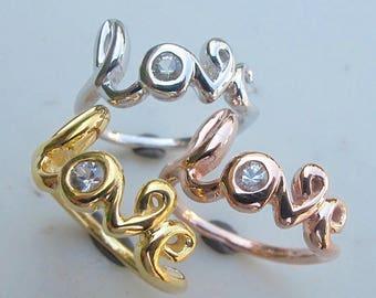 Love Ring Gold, Love Ring White Sapphire, Valentine Day Gift, Word Promise Ring, September Birthstone Love Ring Gift for Wife Mom Girlfriend
