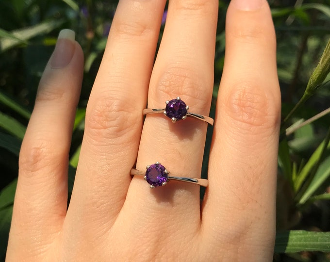6 Prong Purple Amethyst Ring- Stackable Round Purple Amethyst Ring- Small Dainty Purple Ring- February Birthstone Ring- Sterling Silver Ring
