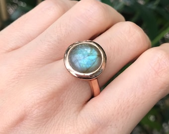 Labradorite Ring Rose Gold Boho Simple Round Ring Ring Unisex Mens Ring Large Statement Smooth Cabochon Size 9 Size 10 All Sizes Silver Gold