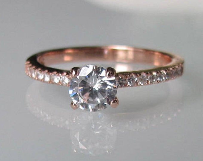 Rose Gold Engagement Ring- Cubic Zirconia Promise Ring- Stone Ring- Promise Ring for Her- 4 Prong Ring- Rose Gold Ring