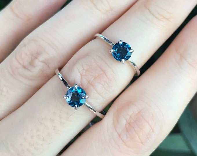 London Blue Topaz Dainty 5mm Round Ring- Dark Blue Topaz Stackable Silver Prong Ring- Ring for Teen Children- Small Simple Minimalist Ring