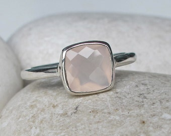 Stackable Pink Chalcedony Ring- Square Shape Pink Ring- Light Pink Gemstone Ring- Rose Quartz Ring- Pale Pink Ring- October Birthstone Ring