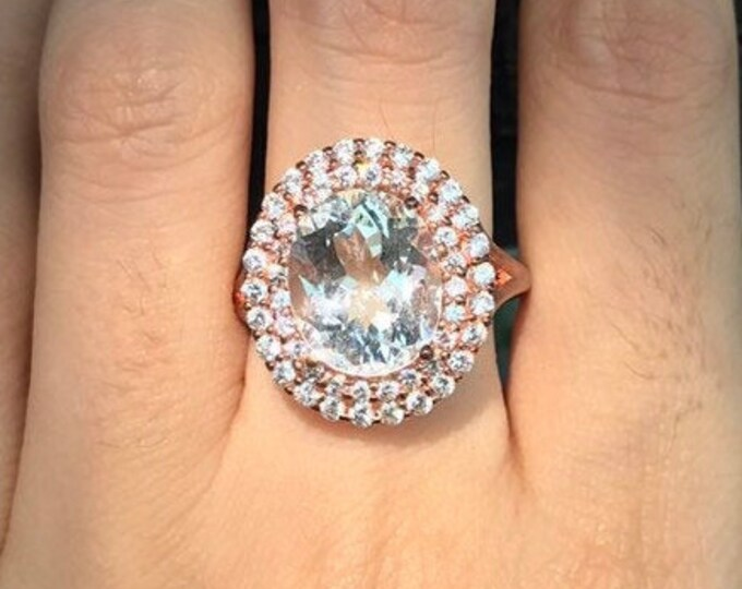 Genuine White Topaz Women Engagement Ring- Rose Gold Oval Colorless Anniversary Ring- Halo Alternative Large Engagement Solitaire Ring