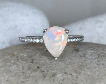 Pear Opal Engagement Ring- Opal Promise Ring- October Birthstone Ring- Genuine Opal Anniversary Ring- Simple Minimalist Opal Ring