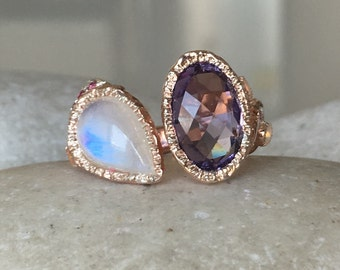 Rose Gold Moonstone Ring with Amethyst- Tree Branch Statement Ring- MultiStone Birthstone Ring- Unique Gemstone Solitaire Ring