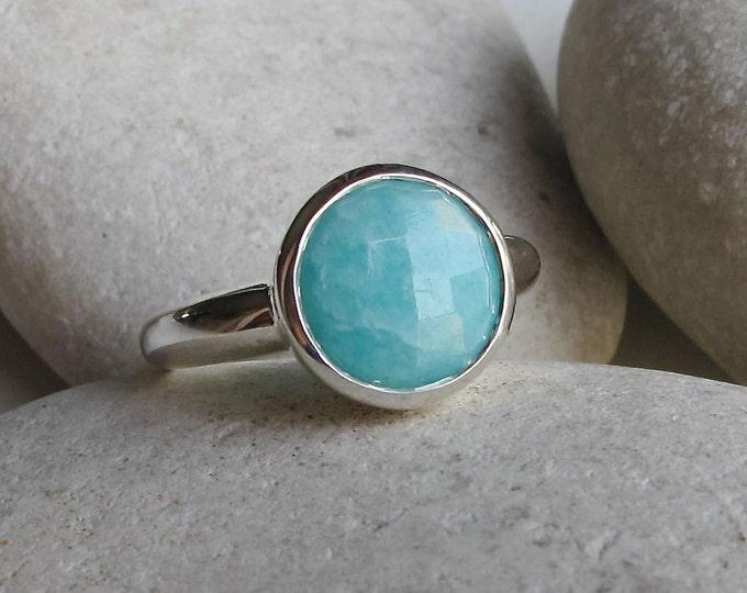 Round Amazonite Boho Ring- Blue Gemstone Stack Ring- Turquoise Bohemian Ring- Gypsy Blue Ring- Sterling Silver Blue Ring- Simple Blue Ring