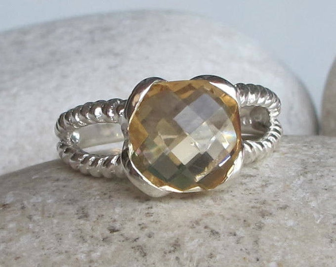Cushion Cut Citrine Ring- Double Shank Citrine Ring- November Birthstone Ring for Her- Yellow Topaz Statement Ring- Ribbed Double Band Ring