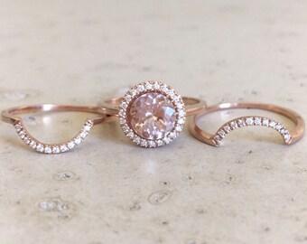 Round Morganite Engagement Ring- Rose Gold Morganite Bridal Ring Set- Morganite Diamond Halo Ring Set- Woman 3 Piece Engagement Ring Set