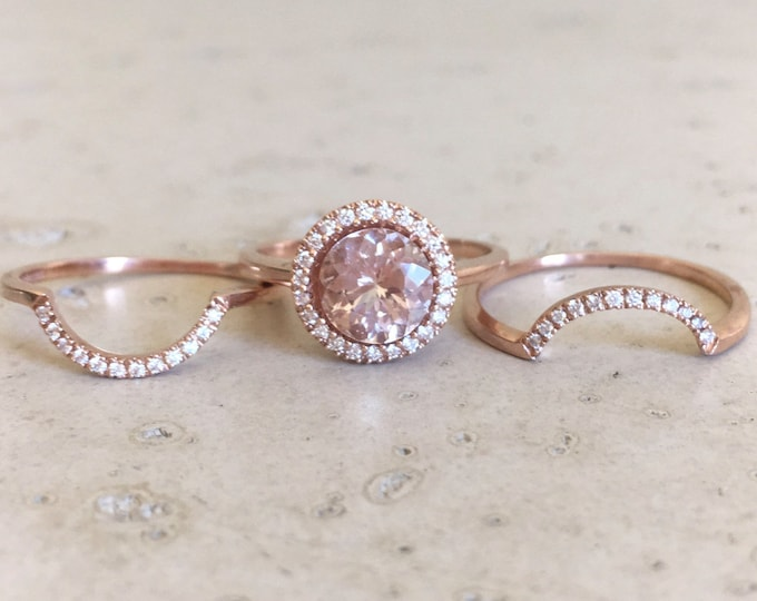 Round Morganite Engagement Ring- Rose Gold Morganite Bridal Ring Set- Morganite Diamond Halo Ring Set- Woman 3 Piece Engagement Ring Set