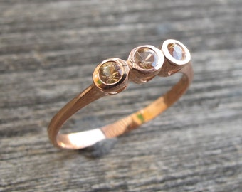 Rose Gold Promise Ring- Yellow Sapphire Ring- Three Stone Anniversary Ring- Dainty Gemstone Promise Ring- September Birthstone Ring